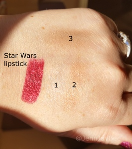 Lipstick and eyeshadow swatches. The different shadow colors are numbered.